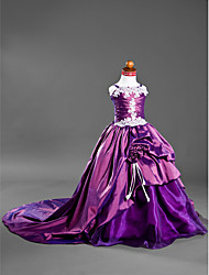 Ball Gown Court Train Flower Girl Dress - Satin Taffeta Spaghetti Straps with Appliques Draping Flower(s) Pick Up Skirt Side Draping