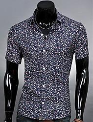 Men's Revers Fashion Casual korte mouw Bloemen Shirt