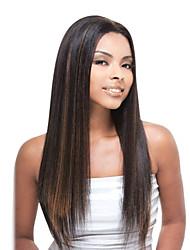 18inch Remy do indiano do cabelo humano Lace Front Wigs Moda Yaki em linha reta # 1B/30