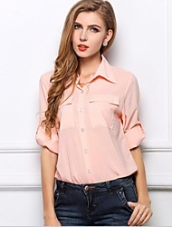 Women's Solid Pink Blouse/Shirt , Casual Long Sleeve