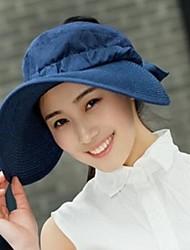 Women's Big Along the Network Edge Shading Straw Hat Beach Hat Dark Blue