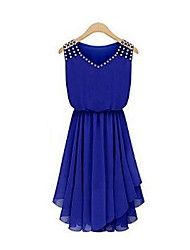 Women's Solid Blue/Black Dress,Casual V Neck Sleeveless Beaded