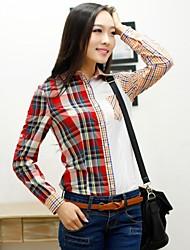 Collar Turn-Down de Veri Gude femmes Patchwork Plaid Shirt