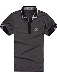 Men's Short Sleeve T-Shirt , Cotton Blend Casual Plaids & Checks