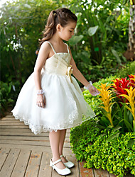 A-line Ball Gown Princess Ankle-length Flower Girl Dress - Chiffon Lace Satin Tulle Straps with Bow(s) Sequins