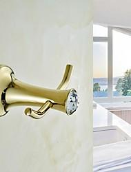 Contemporary Golden Crystal Brass Robe Hook