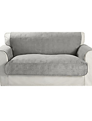 Waterproof Microsuede Grey Solid Cube Quilting Loveseat Cover