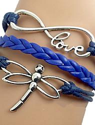 pulseira azul de couro wrap shixin® 18 centímetros libélula europeu das mulheres (1 pc)