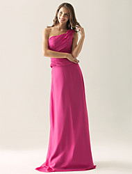Floor-length Chiffon / Satin Bridesmaid Dress Sheath / Column One Shoulder Plus Size / Petite with Side Draping