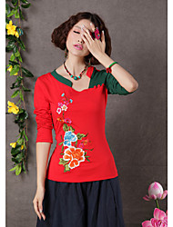 TS Ethnic Chinese Style Embroidery Contrast Color Halter T-Shirt Top