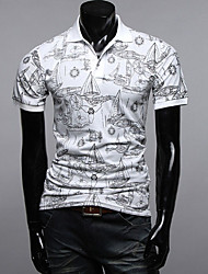 INMUR Men's Short Sleeves Floral Print Polo White T-shirt