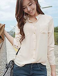 Women's Casual Stand Collar Long Sleeve Pocket Shirt Blouse