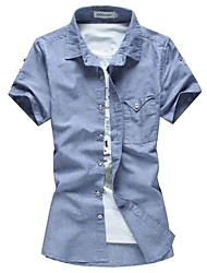 Men's Lapel Pure Color Linen Breathable Short-Sleeved Shirt Plus-Size Casual Shirts