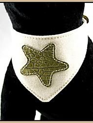 Toile de coton réglable avec le modèle de Cute Star cuir véritable Bandana colliers pour animaux de compagnie Chiens (tailles assorties)