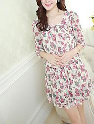 Primavera Mujer Corea Nuevo estilo de flores de gasa mangas adelgaza el vestido