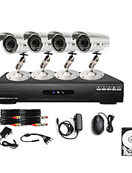 Ultra Low Price 4CH CCTV DVR Kit (4 Outdoor Waterproof 600TVL Color Cameras)500GB Hard Drive