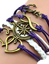 Bracelet Bracelets Wrap Cuir Amour Soirée / Quotidien Bijoux Cadeau Violet