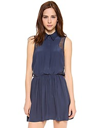 Women's Blue Dress , Casual Sleeveless