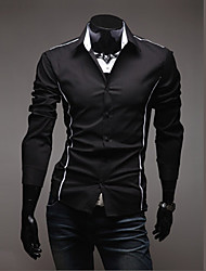 Fengshang Herren Bodycon Lässige Long Sleeve Revers Neck Black Shirt