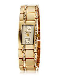 Simple Diamante Rectangle de femmes de cadran de quartz de bande de montre de mode analogique en alliage (couleurs assorties)