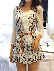 Women's Print Beige/Black/White Shirt , Round Neck ¾ Sleeve Ruffle