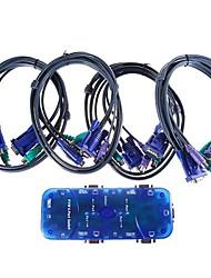 4-Port Digital Switch KVM with 4-Set KVM Cables