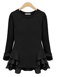 Europa Chiffon Splice manga comprida camisa dos OEYA Mulheres (creme, preto)