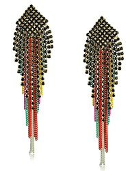 Alloy With Resin And Multicolour Tassel  Drop Earrings