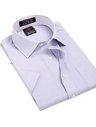 Été formelles affaires manches courtes Modal LT pourpres Diagonal rayé T-shirts U-requin hommes Blouse Top EOZY
