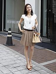 Women's Solid Black/White T-shirt/Shirt , V Neck Short Sleeve Ruffle