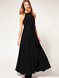 Ouli Women's Sleeveless Chiffon Maxi Black Dress 6072