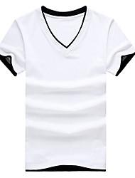 Herren T-shirt-Einfarbig Freizeit Baumwolle Kurz-Schwarz / Weiß / Grau