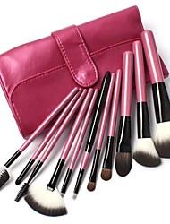 11 PC de maquillage de cheveux de chèvre maquillage kit de brosse en rose Lattice Sac en cuir