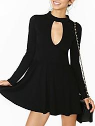Women's In Attractive Sexy Casual Long Sleeve Turtleneck Zipper Short Dress