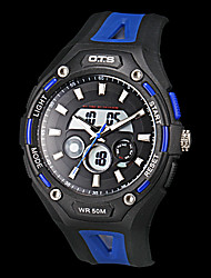 Men's Multi-Functional Dual Time Zones Rubber Band Sporty Wrist Watch (Assorted Colors)