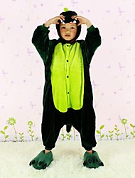 New Cosplay Green Dinosaur  Flannel Toilet version Children Kigurumi Pajama