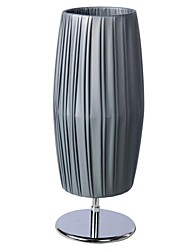Gray Cylinder Table Lamp 1Light Modern Pe Fabric Weaving