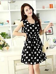 Women's Chiffon Dot Print Slim  Dress