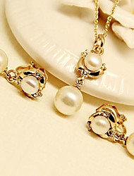 Fashion Jewelry Necklace & Earrings Set Full of Rhinestones and Pearl Gold Plated