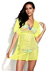 RELLECIGA   Women's   Sexy Beachwear -Neon Yellow Crochet TunicBeach Dress with Drawstring at Waistline BIKINI