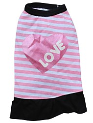 Cat / Dog Dress Pink Dog Clothes Summer Letter & Number / Hearts