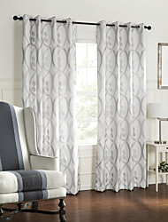 Barroco Two Panels Geometric White Bedroom Polyester Panel Curtains Drapes