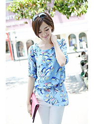 Women's Plus Size Summer Blouse,Print Short Sleeve Blue Thin