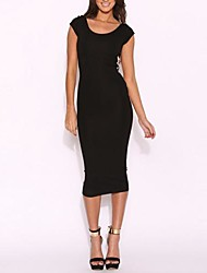 Women's Party/Cocktail Plus Size Sexy Bodycon Dress,Color Block Backless Round Neck Knee-length Short Sleeve Cotton Spandex BlackAll