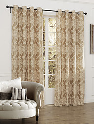 (Two Panels) Classic Fancy Country Floral Jacquard Room Darkening Curtain