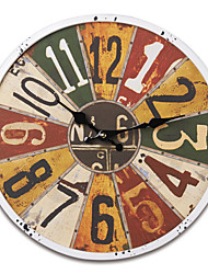 "13.5""H Retro Crayon Drawing Style Metal Wall Clock"