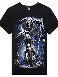 M-EMPIRE Cotton 3D Skull Knight Short Sleeve T-Shirt (Black)