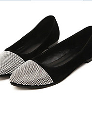 Ruihan Women's Fashion Rhinestone Flat Heel Shoes (Black)