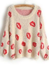 Mujeres Nuevos Labios flojos suéter manga murciélago suéter del suéter