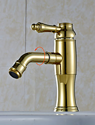 Golden 360°Rotary Water Outlet  Brass Bathroom Sink Faucet